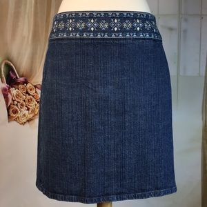 LOFT Denim A-line Skirt